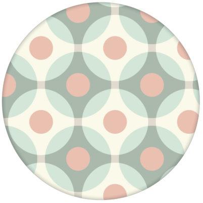"""Retro Tapete """"Flower Dots"""" mit großen Punkten in türkis rosaaus dem GMM-BERLIN.com Sortiment: rosa Tapete zur Raumgestaltung: #Little Greene für individuelles Interiordesign"""
