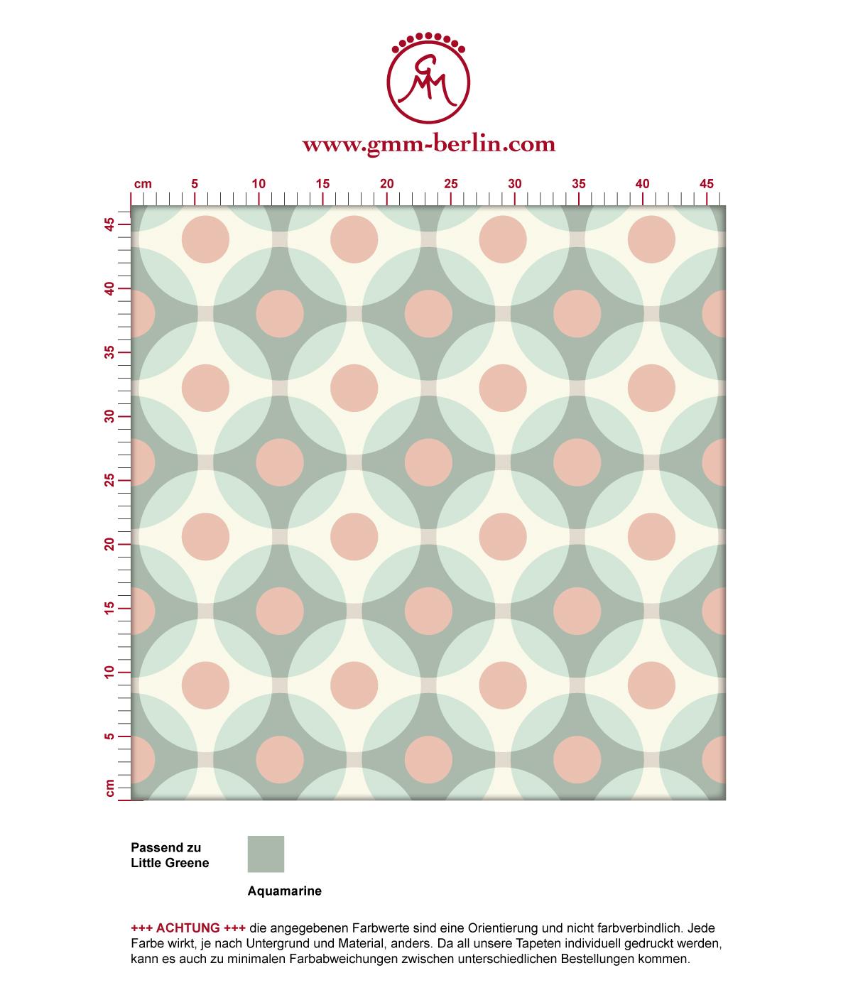 retro tapete flower dots mit gro en punkten t rkis gmm. Black Bedroom Furniture Sets. Home Design Ideas