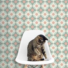 """Tapete Wohnzimmer hell rosa: Retro Design Tapete """"Flower Dots"""" mit großen Punkten in türkis rosa für Wohnzimmer"""