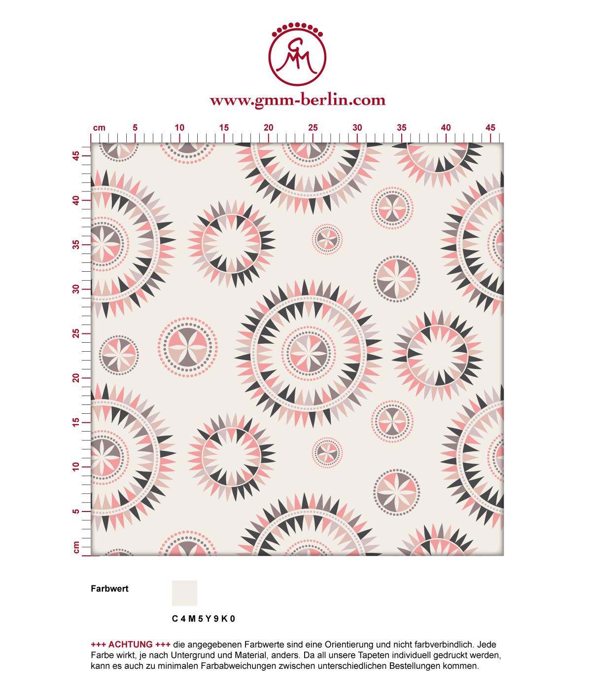 """Nordische Tapete """"Windrose"""" mit reduziertem modernem Design in rosa angepasst an CMYK Wandfarben 3"""