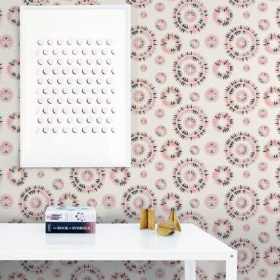 """Nordische Vliestapete """"Windrose"""" modernes Design in rosa Wandgestaltung"""