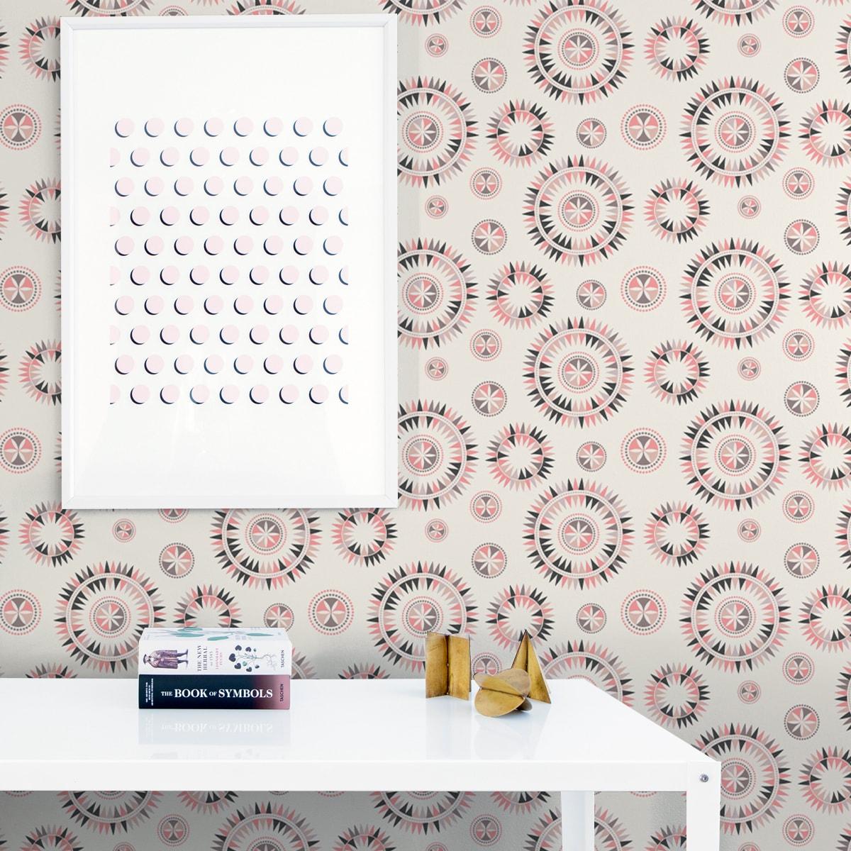"""Wandtapete creme: Nordische Vliestapete """"Windrose"""" modernes Design in rosa Wandgestaltung"""