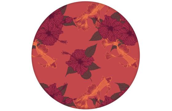 """Edle Fisch Tapete """"Le jardin japonais"""" mit Blick auf den Koi Karpfen Teich in rot"""