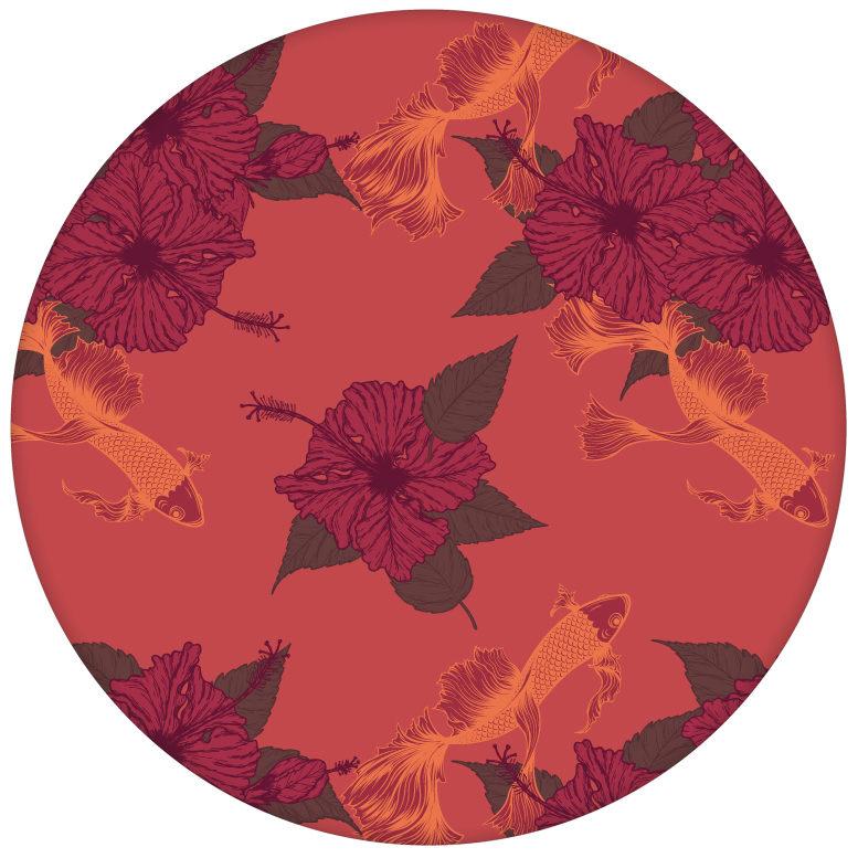 """Edle Fisch Tapete """"Le jardin japonais"""" mit Blick auf den Koi Karpfen Teich in rotaus dem GMM-BERLIN.com Sortiment: rote Tapete zur Raumgestaltung: #Little Greene #rot für individuelles Interiordesign"""