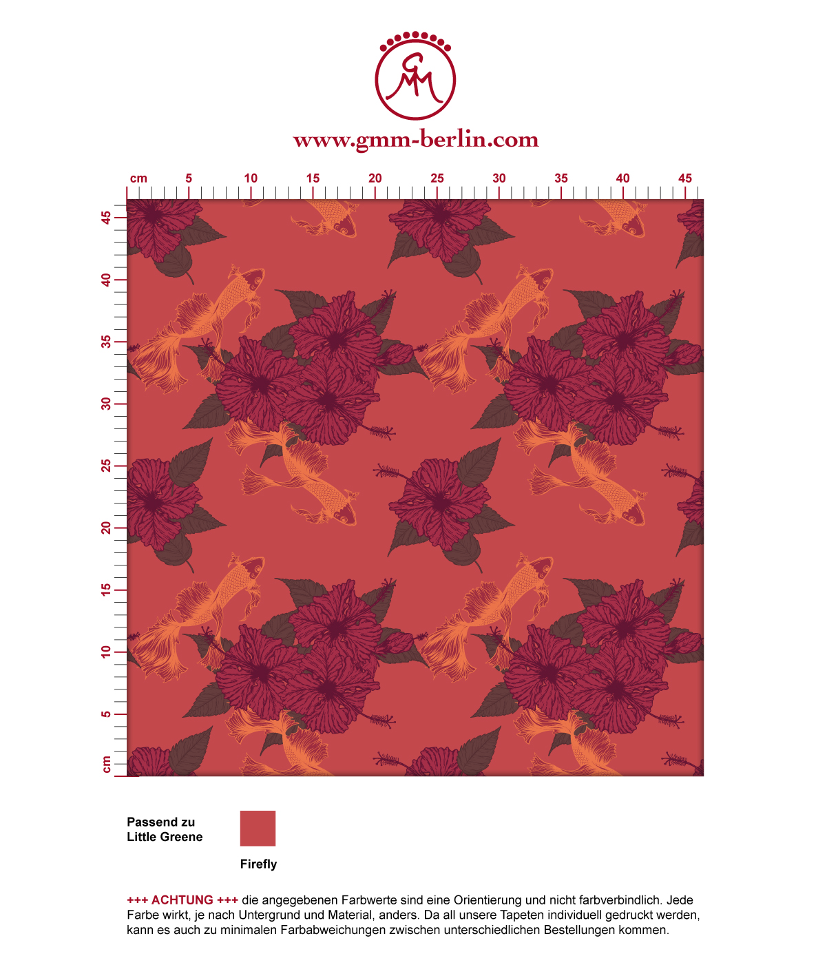 "Edle Tapete ""Le jardin japonais"" mit Blick auf den Koi Karpfen Teich in rot angepasst an Little Greene Wandfarben"
