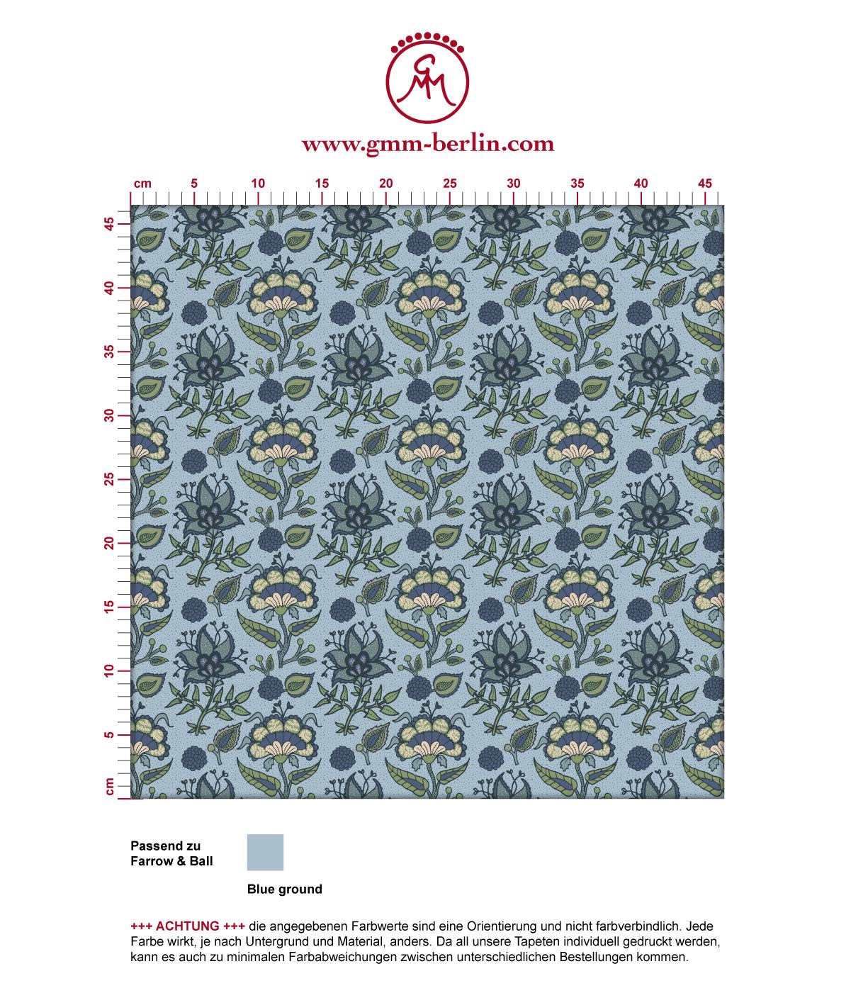"""Folklore Tapete """"Little India"""" mit indischem Blumen Muster in blau grau angepasst an Farrow & Ball Wandfarben"""