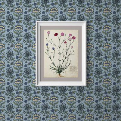 """Florale Tapete """"Little India"""" mit indischem Blumen Muster in blau grau Wandgestaltung"""