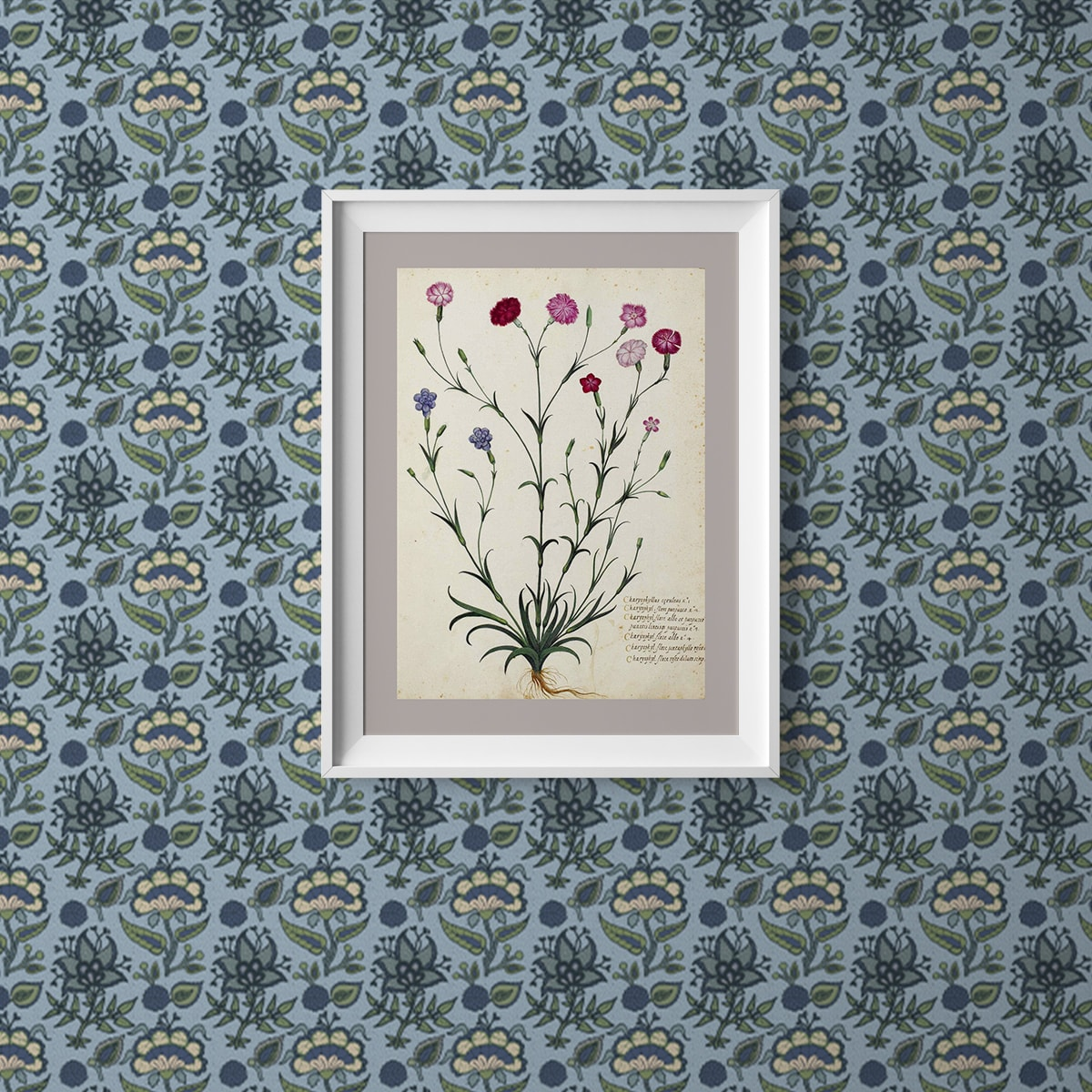 """Wandtapete hellblau: Florale Tapete """"Little India"""" mit indischem Blumen Muster in blau grau Wandgestaltung"""