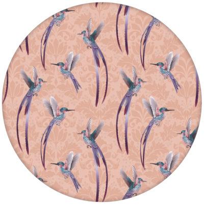 """Traumhafte """"Damast-Elfen"""" Tapete mit Kolibris auf Damast Muster, rosa Wandgestaltung"""