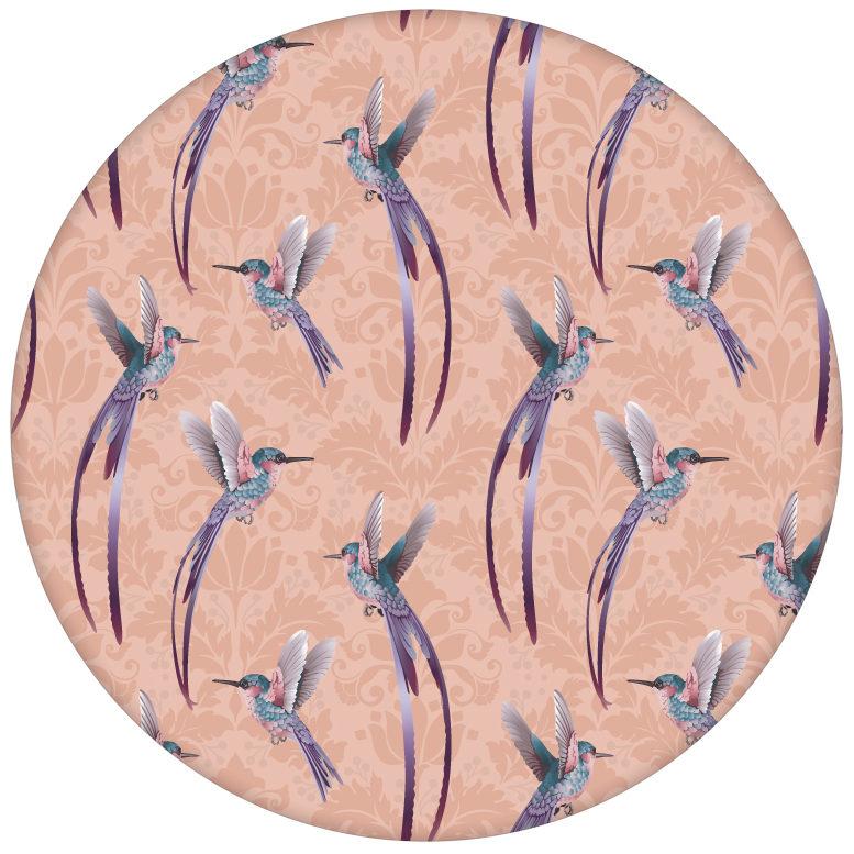 """Traumhafte """"Damast-Elfen"""" Tapete mit Kolibris auf Damast Muster, rosa Wandgestaltungaus dem GMM-BERLIN.com Sortiment: rosa Tapete zur Raumgestaltung: #Little Greene #rosa für individuelles Interiordesign"""