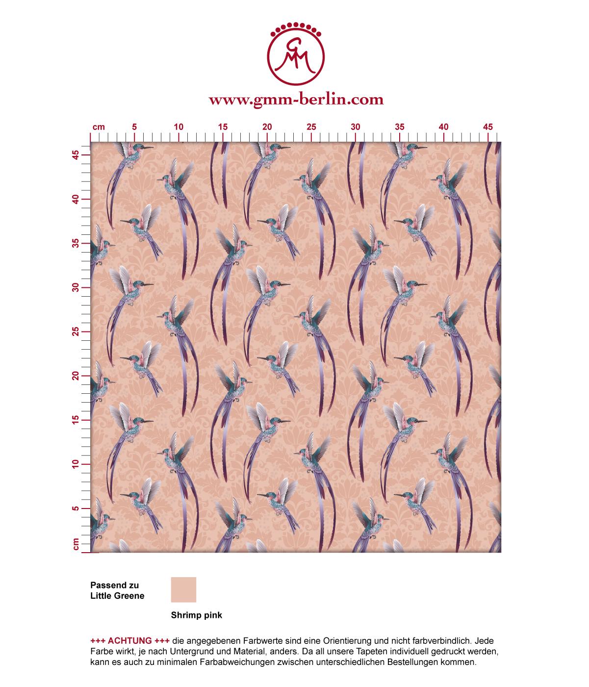 """Traumhafte """"Damast-Elfen"""" Tapete mit Kolibris auf Damast Muster in rosa angepasst an Little Greene Wandfarben"""