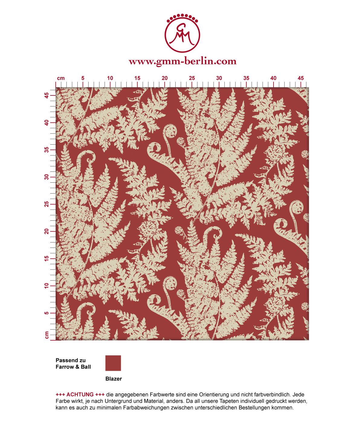 "Schöne Tapete ""Heidis Fernerie"" mit großem Farn Muster in rot angepasst an Farrow & Ball Wandfarben 3"