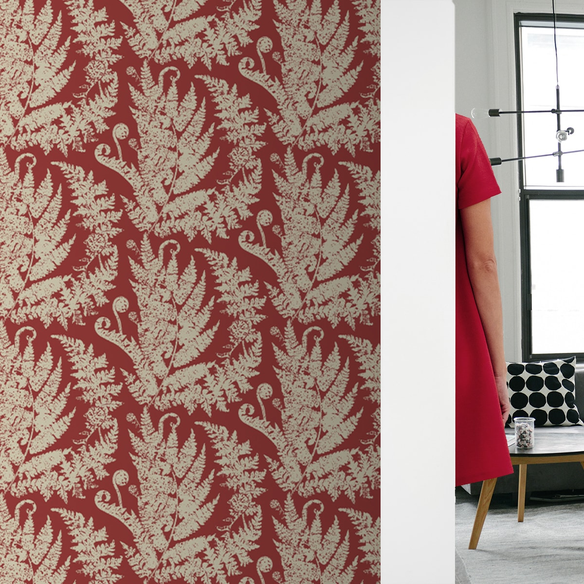"Wandtapete rot: Florale Tapete ""Heidis Fernerie"" mit großem Farn Muster in Vliestapete Urwald"
