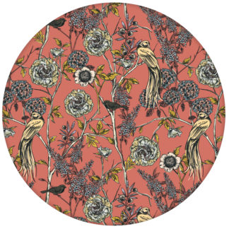 """Victorias Treasure"" florale Tapete mit Paradies Vögeln und Blumen im victorianischen Stil in orangeaus dem GMM-BERLIN.com Sortiment: orange Tapete zur Raumgestaltung: #Little Greene #orange für individuelles Interiordesign"