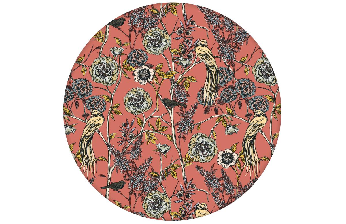 """""""Victorias Treasure"""" florale Tapete mit Paradies Vögeln und Blumen im victorianischen Stil in orange"""