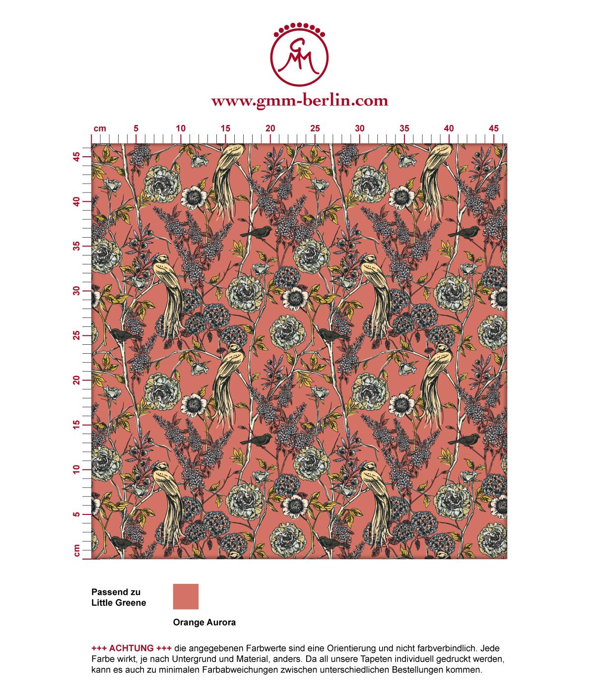 """""""Victorias Treasure""""Tapete mit Paradies Vögeln und Blumen im victorianischen Stil in orange angepasst an Little Greene Wandfarben 3"""