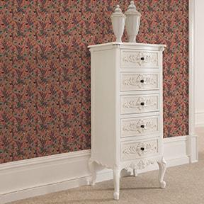 """""""Victorias Treasure""""Tapete mit Paradies Vögeln und Blumen im victorianischen Stil in orange angepasst an Little Greene Wandfarben"""