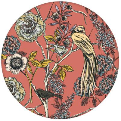 """Tolle florale Tapete """"Victorias Treasure"""" mit Paradies Vögeln und Blumen in orange - großer Rapport"""