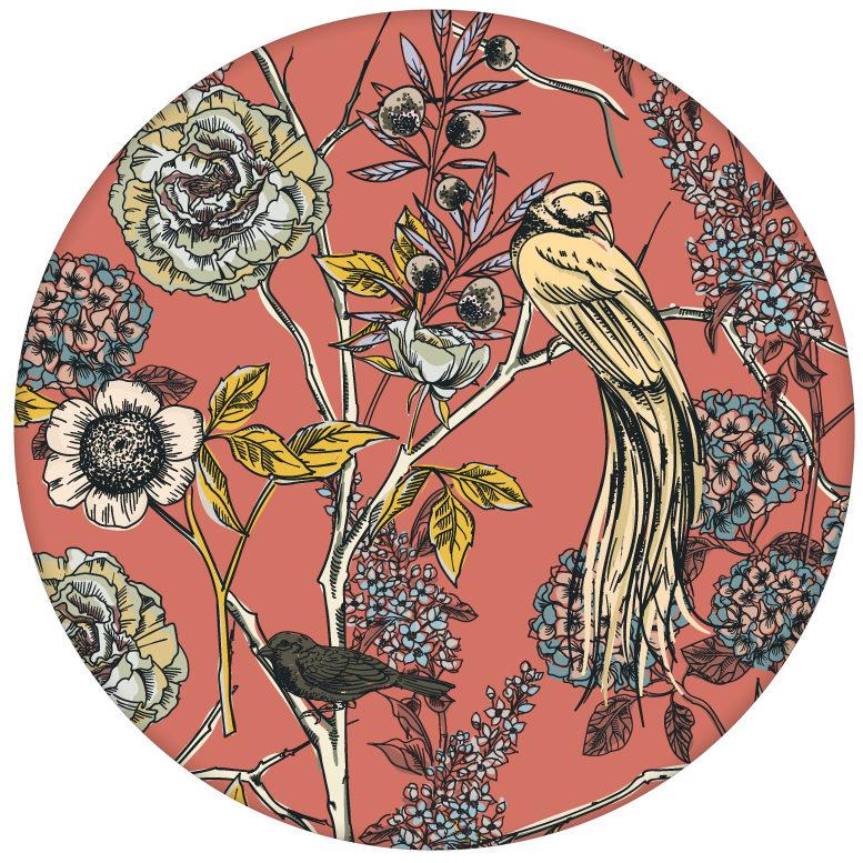 """Tolle florale Tapete """"Victorias Treasure"""" mit Paradies Vögeln und Blumen in orange - großer Rapport aus den Tapeten Neuheiten Blumentapeten und Borten als Naturaltouch Luxus Vliestapete oder Basic Vliestapete"""