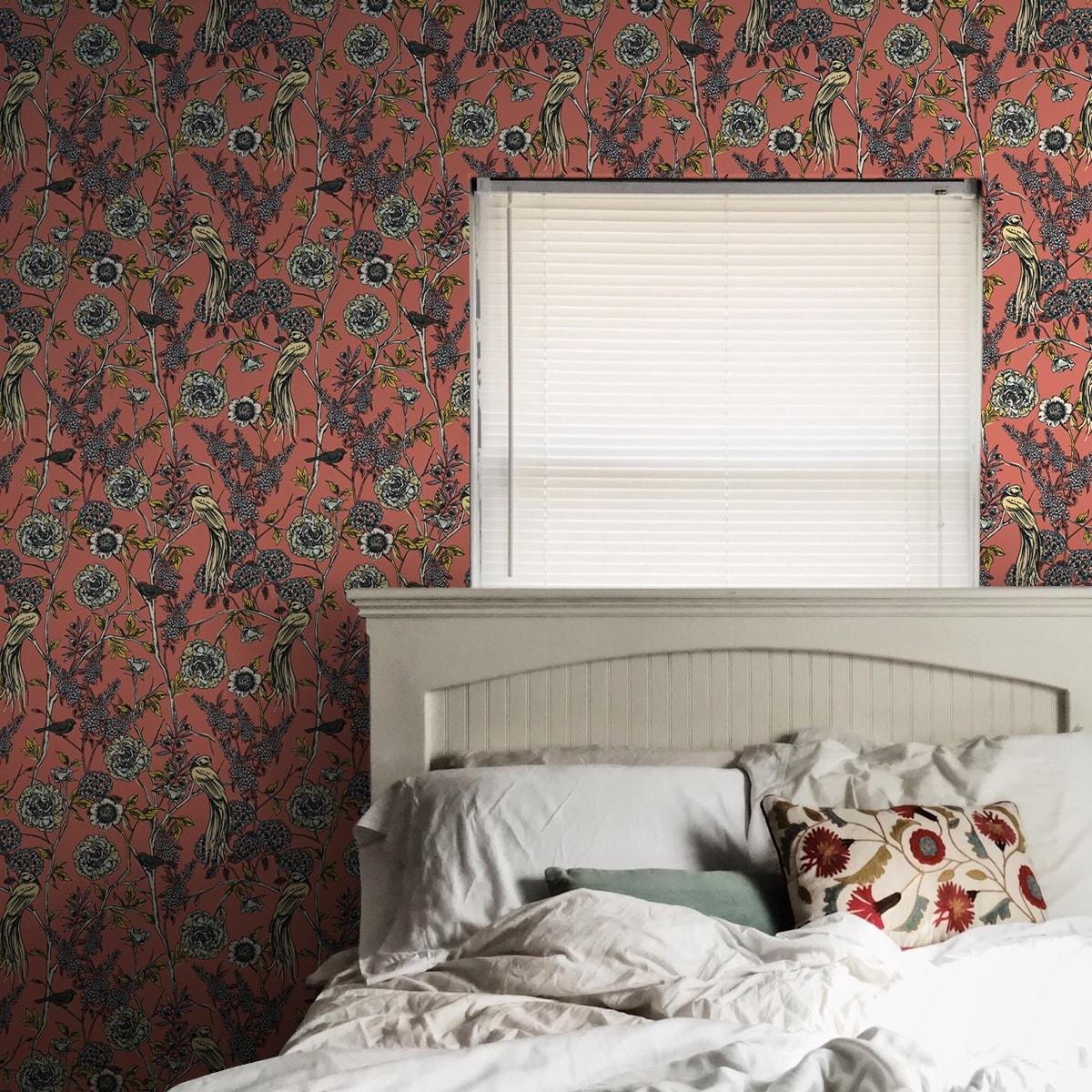 """Tolle florale Tapete """"Victorias Treasure"""" mit Paradies Vögeln und Blumen in orange - großer Rapport Wohnzimmer"""