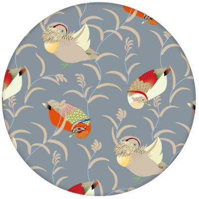 """""""Im Schlossteich"""" Vliestapete mit Enten im Schilf in grau blau feine Wandgestaltung aus den Tapeten Neuheiten Exklusive Tapete für schönes Wohnen als Naturaltouch Luxus Vliestapete oder Basic Vliestapete"""