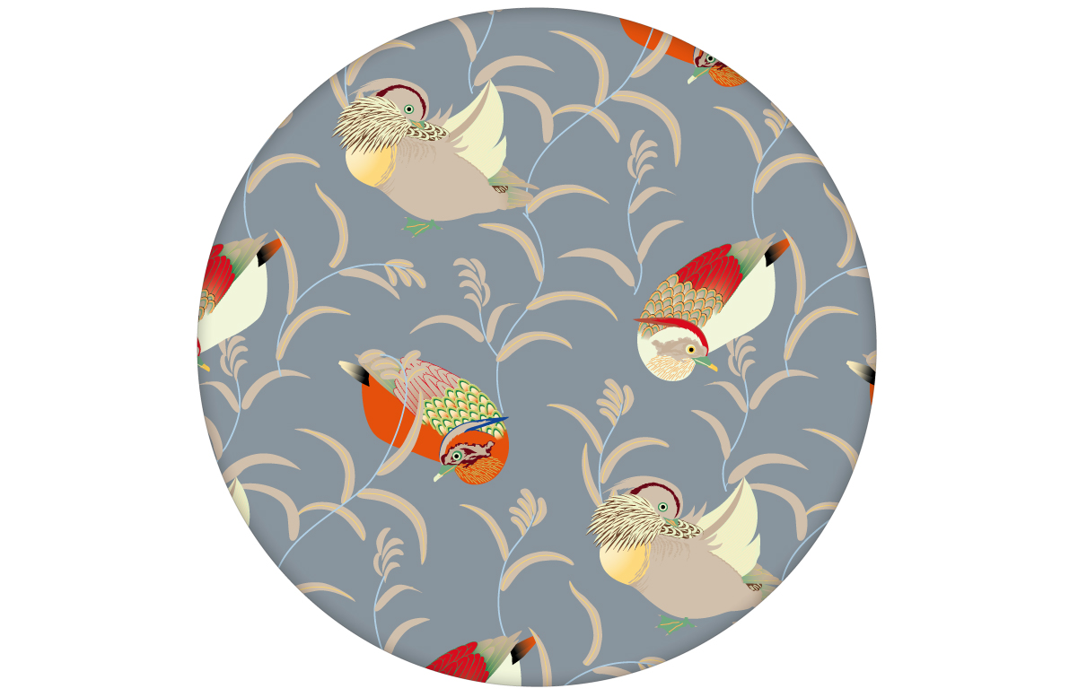 """""""Im Schlossteich"""" Vliestapete mit Enten im Schilf in grau blau feine Wandgestaltung"""