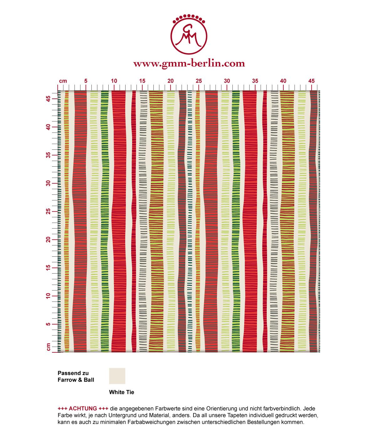 """Schicke Streifen Tapete """"Dotted Lines"""" in rot grün angepasst an Farrow and Ball Wandfarben"""
