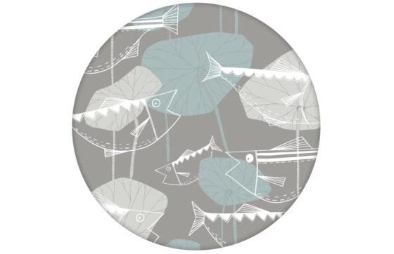 """Helle Fisch Tapete """"Angler Glück"""" im Stil der 70er Wandgestaltung beige grau"""
