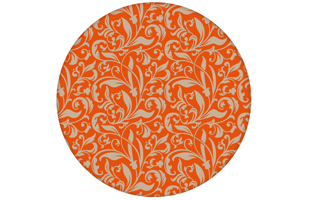 """Schöne florale Tapete """"Victorian Delight"""" mit victorianischem Blatt Muster, orange Wandgestaltung"""