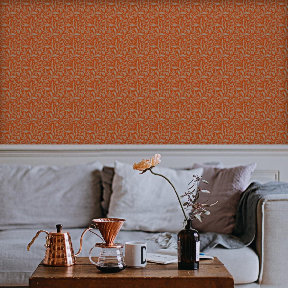 Wandtapete orange: Schöne florale Tapete