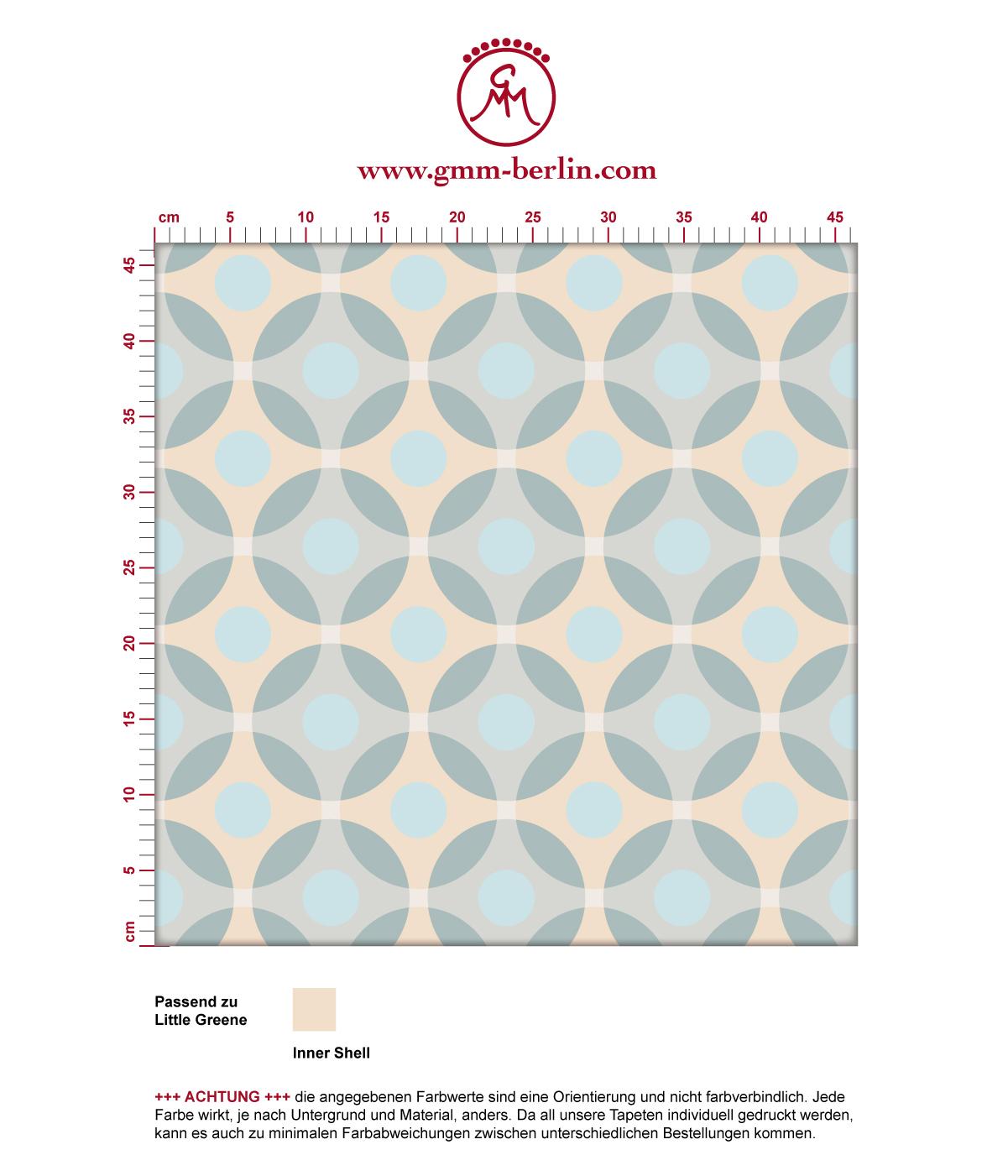 "Moderne ""Flower Dots"" Tapete mit großen Punkten in beige angepasst an Little Greene Wandfarben 3"
