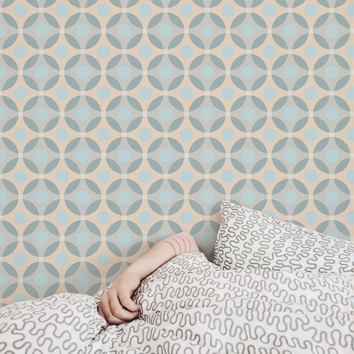"""Wandtapete creme: Moderne """"Flower Dots"""" Design Tapete mit großen Punkten, beige Wandgestaltung"""