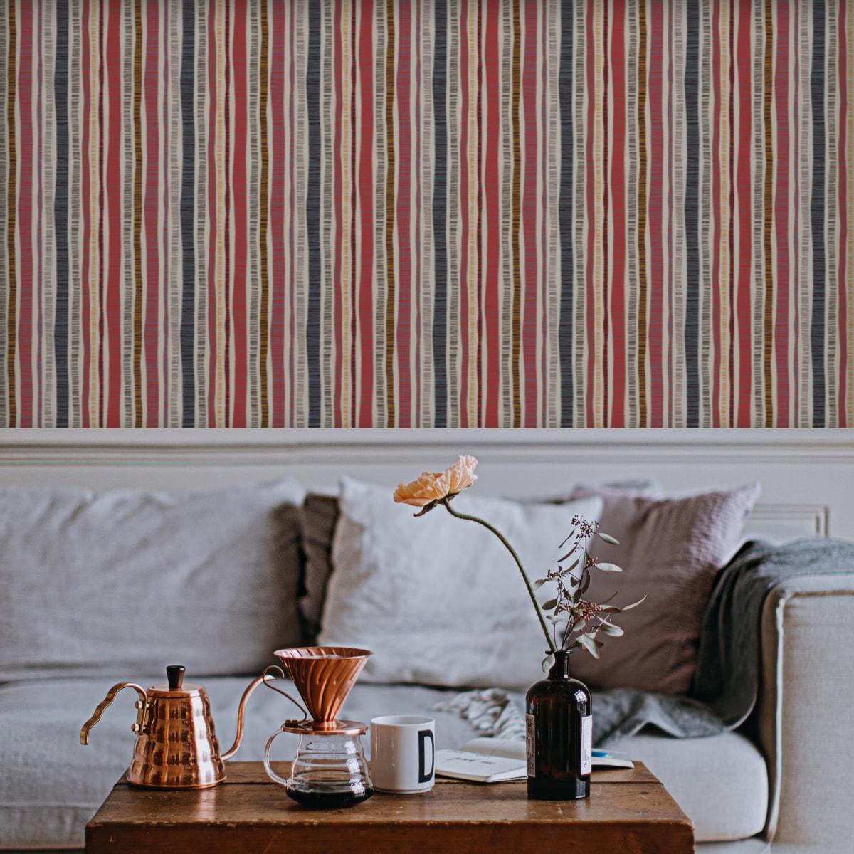 """Wandtapete rot: Erfrischende Streifen Tapete """"Dotted Lines"""" in rosa grau Wandgestaltung"""