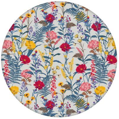 """Country Tapete """"Landblumen"""" mit Bauern Garten Blüten in blau grau für Schlafzimmer"""