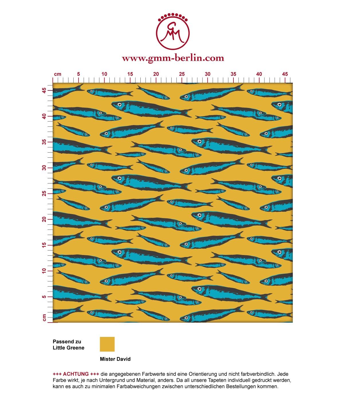 """Angler Tapete """"Sardinen Büchse"""" mit Fisch Schwarm in gelb angepasst an Liitle Greene Farben 3"""