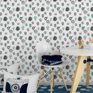 """Fröhliche Design Tapete """"Bad Hair Day"""" mit lustigen Comic Löwen (großes Muster) Kinderzimmer"""