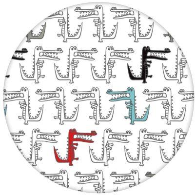 """Lustige Design Tapete """"Zum Fressen schön"""" mit Comic Alligatoren Krokodilen (großes Muster)"""