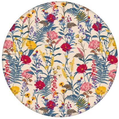 """Country Tapete, gelb beige """"Landblumen"""" mit Bauern Garten Blüten für Wohnzimmer"""