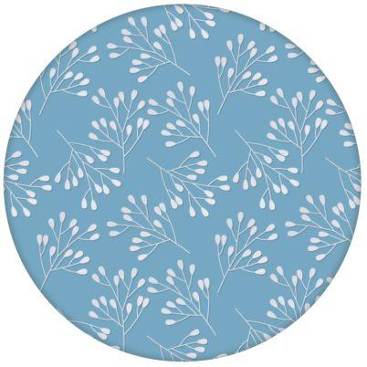 """Hellblaue Design Tapete """"Blüten Dolden"""" mit grafischer Eleganz"""