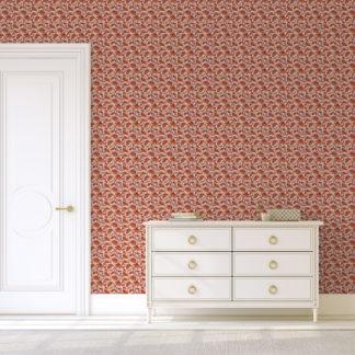 """Jugendstil Blumen Tapete """"Fleur Arabesque"""" mit Blüten Ranken in orange"""