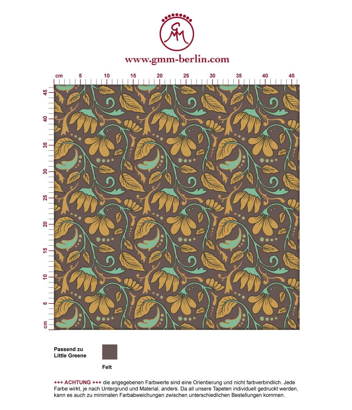 "Edle Jugendstil Tapete ""Fleur Arabesque"" mit Blüten Ranken in braun angepasst an Little Greene Wandfarben 3"