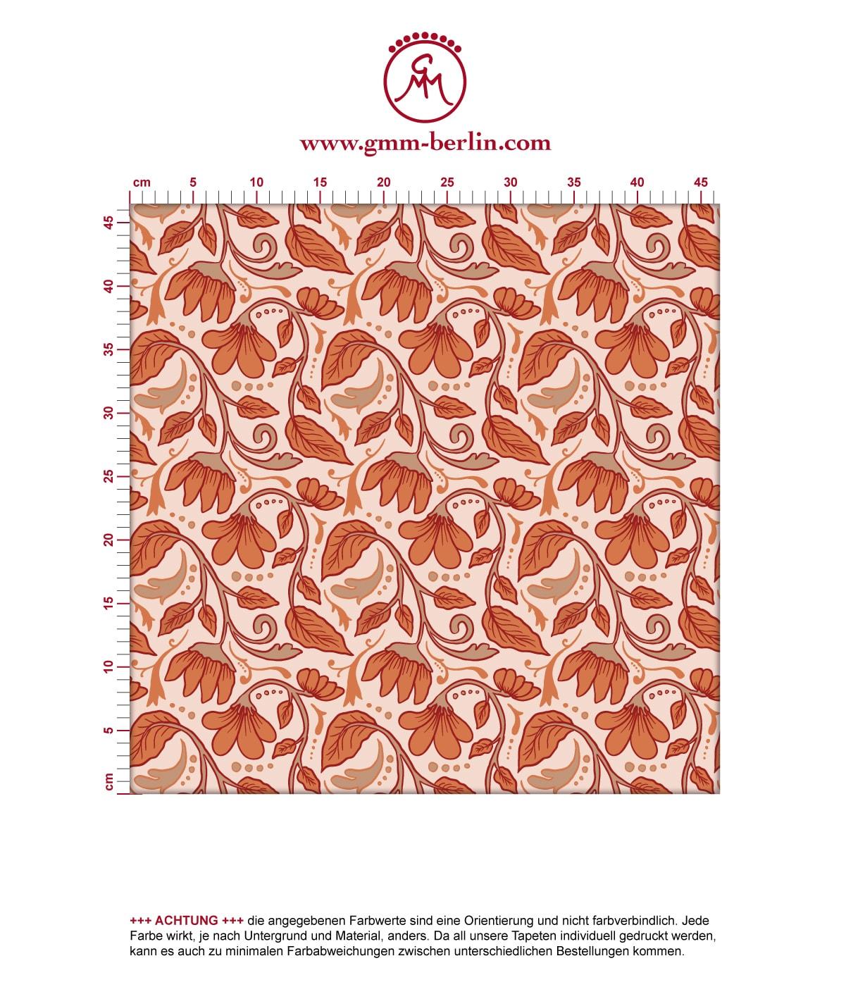 """Jugendstil Tapete """"Fleur Arabesque"""" mit Blüten Ranken in orange 3"""