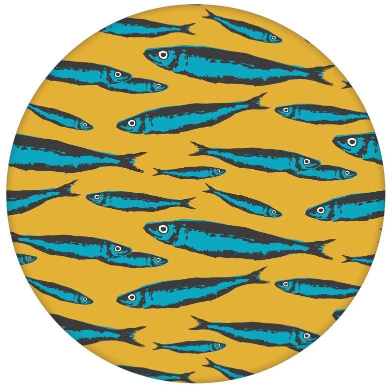 """Angler Tapete """"Sardinen Büchse"""" mit Fisch Schwarm in gelb für Küche Bad"""