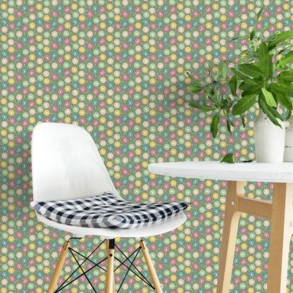 "Moderne Tapete ""Wünsch-Dir-Was"" mit bunten Pusteblumen, Wandgestaltung grün"