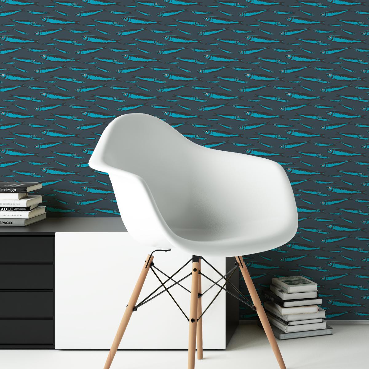 """Retro Angler Design Tapete """"Sardinen Büchse"""" mit Fisch Schwarm in blau"""