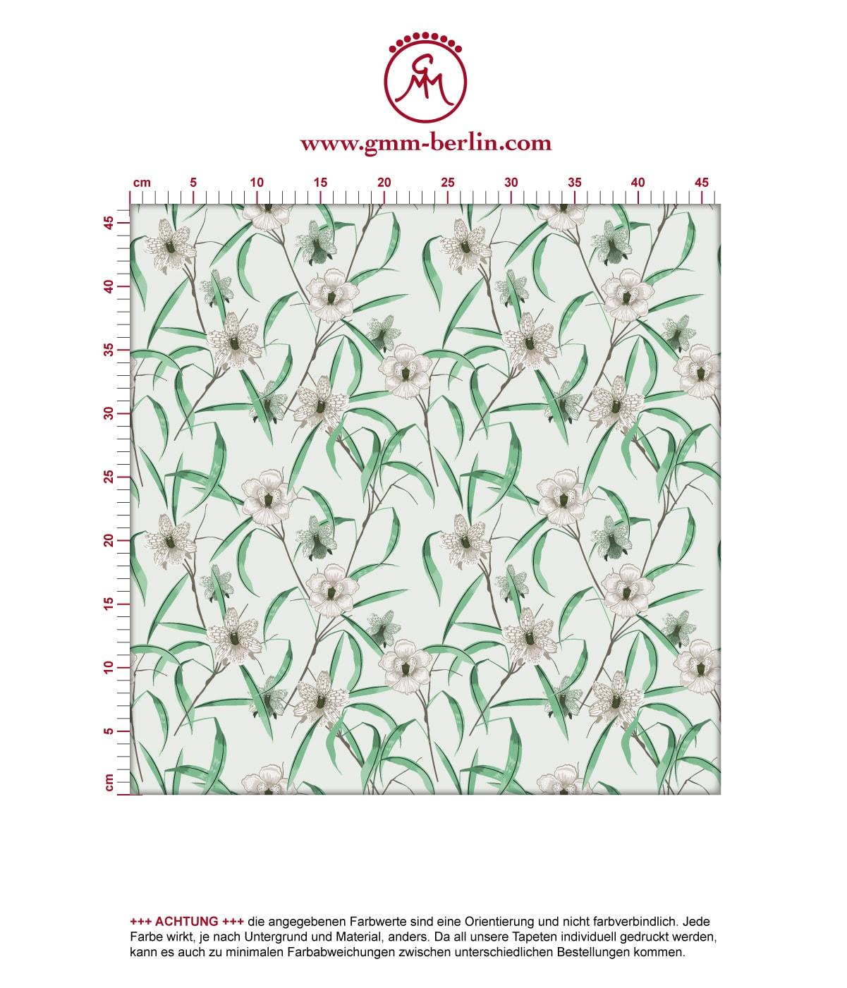 "Grüne Tapete ""Orchid Garden"" mit Orchideen Blüten 3"