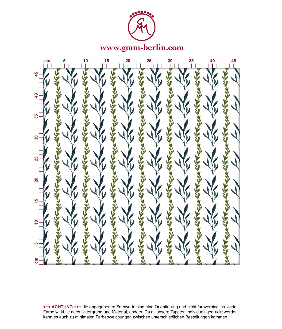 """Grüne Tapete """"zarte Laub Streifen"""" mit gemalten Blättern in grün"""
