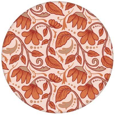 "Jugendstil Vintage Tapete ""Fleur Arabesque"" mit Blüten Ranken in orange"