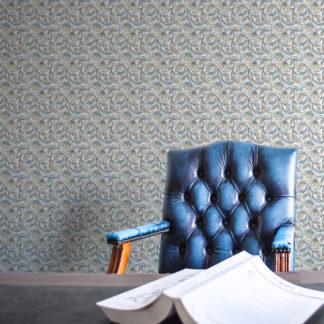 "Hellblau Jugendstil Tapete ""Fleur Arabesque"" mit Blüten Ranken edle Wandgestaltung"