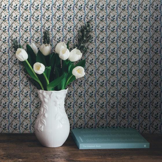 """Blaue klassische florale Tapete """"zarte Laub Streifen"""" Vlies Streifentapete"""